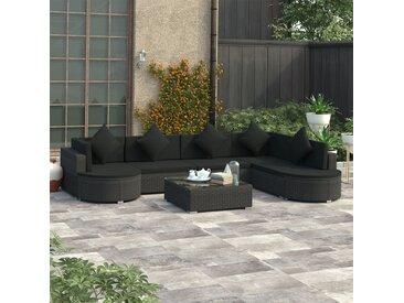 Salon de jardin 8 pcs avec coussins Résine tressée Noir - vidaXL