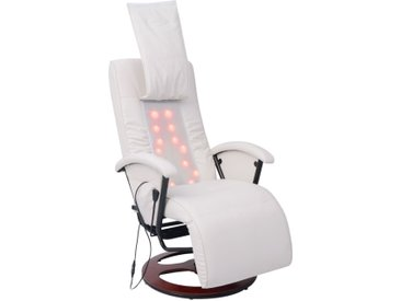 Fauteuil de massage shiatsu Blanc Similicuir - vidaXL