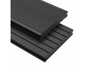Panneaux de terrasse solides et accessoires WPC 10m² 2,2 m Noir - vidaXL