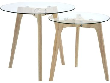 Ensemble de tables d'appoint 2 pcs Verre trempé - vidaXL
