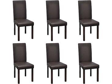 6 pcs Chaises de salle à manger Marron Similicuir - vidaXL