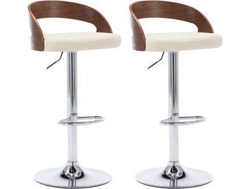 Chaises de bar 2 pcs Crème Similicuir et bois courbé - vidaXL
