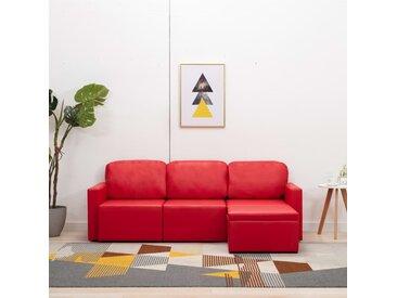Canapé-lit modulaire 3 places Rouge Similicuir - vidaXL