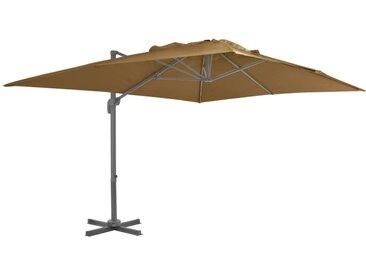 Parasol en porte-à-faux avec mât en aluminium 400x300 cm Taupe - vidaXL