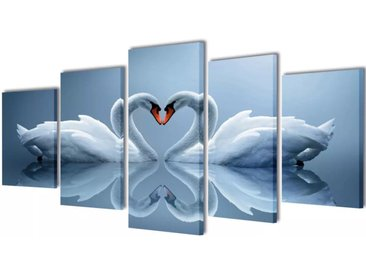 Set de toiles murales imprimées Cygnes 200 x 100 cm - vidaXL