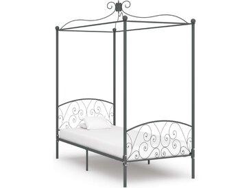 Cadre de lit à baldaquin Gris Métal 100 x 200 cm - vidaXL