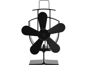 Ventilateur de poêle alimenté par chaleur 5 pales Noir - vidaXL