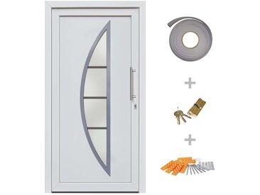 Porte d'entrée principale Blanc 108x200 cm - vidaXL