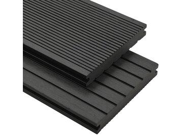 Panneaux de terrasse solides et accessoires WPC 20m² 2,2 m Noir - vidaXL