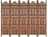 Cloison de séparation 5 panneaux Marron 200x165cm Bois manguier - vidaXL