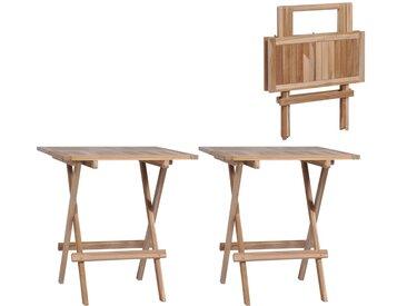 Tables de bistro pliable 2 pcs 60x60x65 cm Bois de teck massif - vidaXL