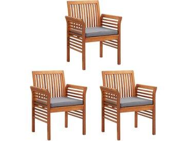 Chaises à dîner de jardin et coussins 3pcs Bois d'acacia massif - vidaXL