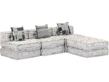 Canapé-lit modulaire à 3 places Gris Tissu - vidaXL