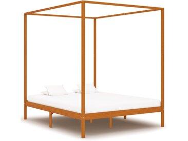 Cadre de lit à baldaquin Marron miel Pin massif 160x200 cm - vidaXL