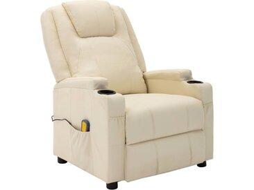 Fauteuil de massage inclinable Blanc Similicuir - vidaXL