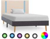 Cadre de lit avec LED Crème et gris foncé Tissu 90 x 200 cm - vidaXL
