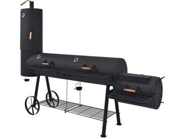 Barbecue au charbon de bois avec étagère inférieure Noir XXXL - vidaXL