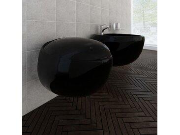 Cuvette WC suspendue et bidet suspendu en céramique Noir - vidaXL
