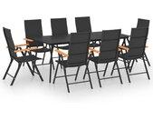 Ensemble de salle à manger de jardin 9 pcs Noir et marron - vidaXL