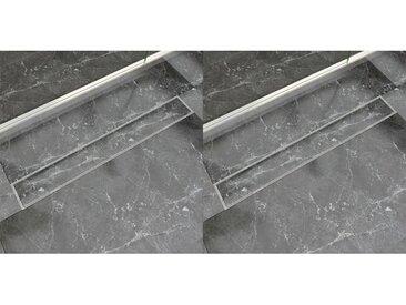 Drain de douche linéaire 2 pc 830 x 140 mm Acier inoxydable - vidaXL