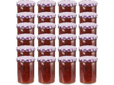 24 pcs Pots à confiture Couvercle blanc et violet Verre 400 ml - vidaXL