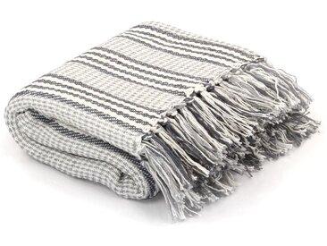 Couverture coton à rayures 160 x 210 cm Gris et Blanc - vidaXL