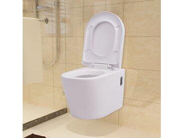 Toilette murale Céramique Blanc - vidaXL