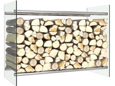 Portant de bois de chauffage Transparent 80x35x60 cm Verre - vidaXL