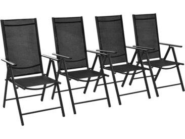 Chaises pliables de jardin 4 pcs Aluminium et textilène Noir - vidaXL