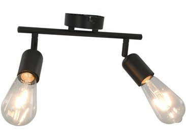 Projecteur à 2 voies avec ampoules à filament 2 W Noir E27 - vidaXL