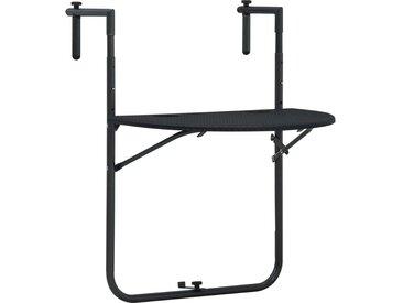 Table de balcon Noir 60x64x83,5 cm Plastique Aspect de rotin - vidaXL
