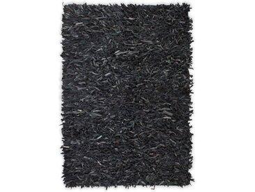 Tapis shaggy Cuir véritable 80 x 160 cm Gris - vidaXL