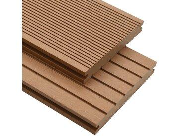 Panneaux de terrasse solides et accessoires WPC 16m² 2,2 m Teck - vidaXL