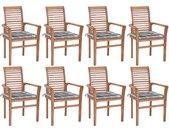 Chaises à dîner 8 pcs avec coussins à carreaux gris Teck solide - vidaXL