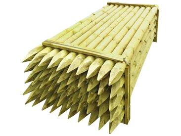 Poteaux pointus de clôture 50 pcs Bois imprégné 10x240 cm - vidaXL