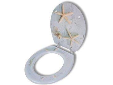 Siège de toilette avec Couvercle MDF Étoile de mer - vidaXL