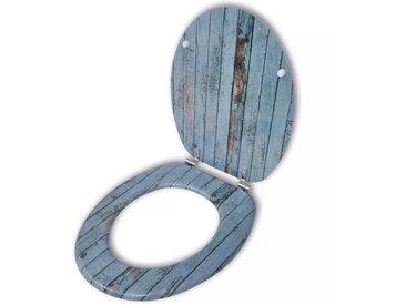 Abatant de WC avec couvercle design bois ancien - vidaXL