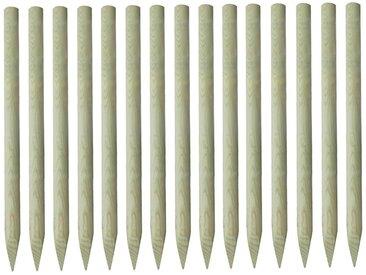 Poteaux de clôture pointus 15 pcs Pin imprégné FSC 4 x 150 cm - vidaXL