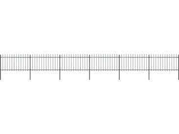 Clôture de jardin avec dessus en lance Acier 10,2 x 1 m Noir - vidaXL