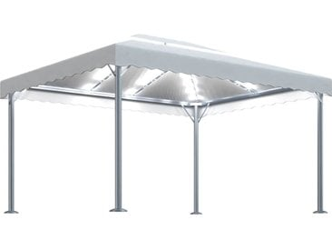 Tonnelle avec guirlande lumineuse 400x300 cm Crème Aluminium - vidaXL