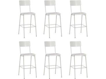 Chaises de bar 6 pcs Blanc Contreplaqué solide et acier - vidaXL
