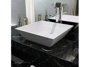 Lavabo carrée Céramique Blanc 41,5 x 41,5 x 12 cm - vidaXL