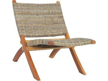 Chaise de relaxation Rotin naturel kubu et bois d'acajou - vidaXL
