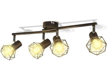 Projecteur Style industriel Noir avec 4 ampoules LED - vidaXL