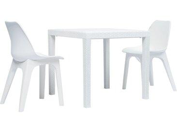 Ensemble de bistro 3 pcs Plastique Blanc - vidaXL