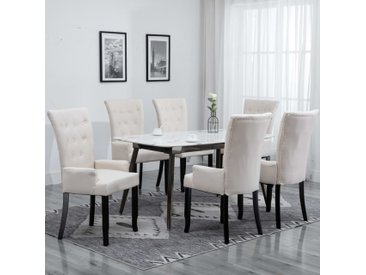 Chaises de salle à manger avec accoudoirs 6pcs Beige Tissu - vidaXL