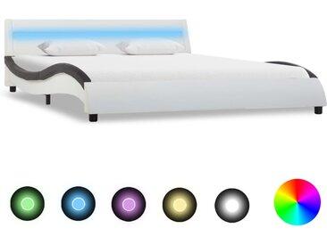 Cadre de lit avec LED Blanc et noir Similicuir 160x200 cm  - vidaXL