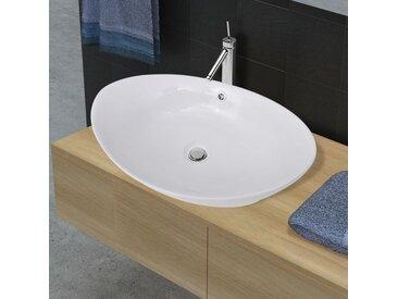 Lavabo ovale en céramique avec trop plein 59 x 38,5 cm - vidaXL