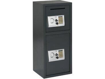 Coffre-fort numérique avec porte double Gris foncé 35x31x80 cm - vidaXL