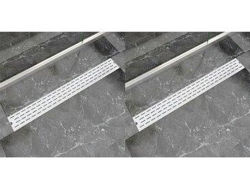 Drain de douche linéaire 2 pcs Ligne 930x140mm Acier inoxydable - vidaXL